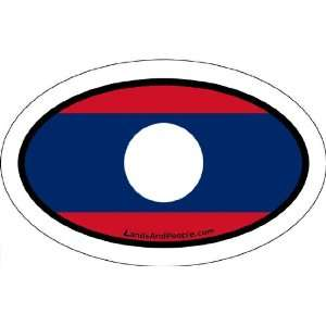 Laos Flag Car Bumper Sticker Decal Oval
