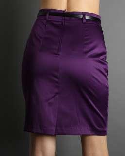 Tiered HIGH Waisted Satin Pencil Animal Belt Skirt 3CLR