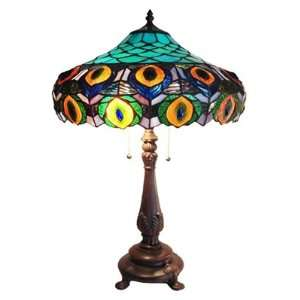 Stained Glass Peacock Table Lamp   16 Shade