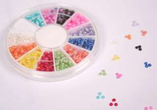 WHEEL 12 COLORS NAIL ART TIPS HALF ROUND BABY PEARL BEAD DECORATION 3D