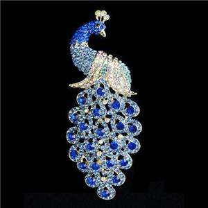 Bird Peacock Brooch Pin Blue Swarovski Crystal Peafowl