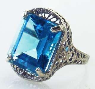DECO BLUE TOPAZ FILIGREE 10K WHITE GOLD ESTATE RING OLD 5 J1/2