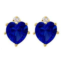 Gold Created Sapphire and Diamond September Birthstone Heart Earrings