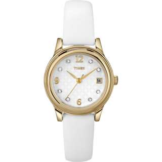 Timex Womens Dress Watch, White Leather Strap Watches