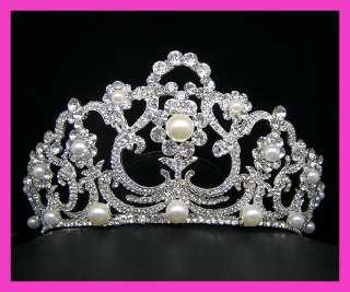Wedding/Bridal crystal veil tiara crown headband CR218