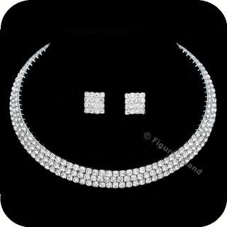 Rhinestone Crystal Bridal Wedding Choker Necklace Earrings Set CN5