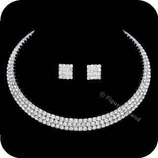 Rhinestone Crystal Bridal Wedding Choker Necklace Earrings Set CN5
