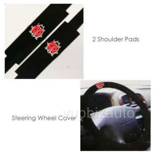 NEW 11PC UNIVERSAL LADYBUG CAR SEAT COVERS STEERING SET