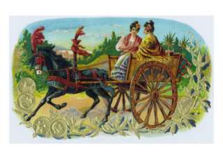 Pluto Brand Cigar Inner Box Label, Ladies in a Horse Drawn Carriage