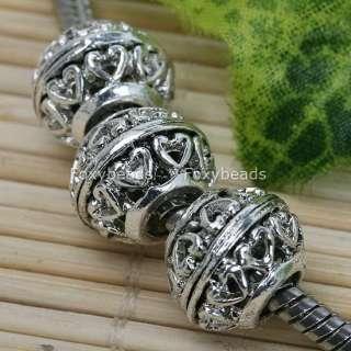 20p Tibetan Silver *Heart Large Hole Beads Fit Bracelet