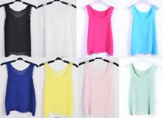 Sexy Sheer Petal Wave Chiffon Coloured Tank Top Shirt