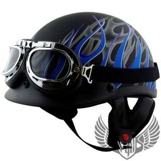 Motorcycle Half Helmet DOT APPROVED w Goggle Bike Harley Chopper ~ M