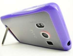 HTC EVO 4G SPRINT PURPLE CLEAR TPU SOFT COVER CASE PREMIUM ACCESSORIES