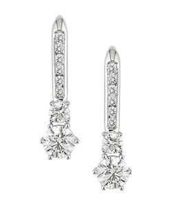 18k White Gold 3ct TDW Diamond Leverback Earrings