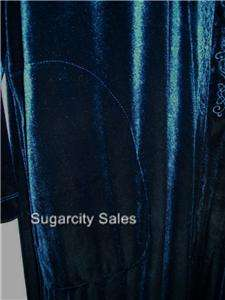 NWT LONG VELVET WITH EMBROIDERY ZIP FRONT ROBE LOUNGER DARK NAVY XL