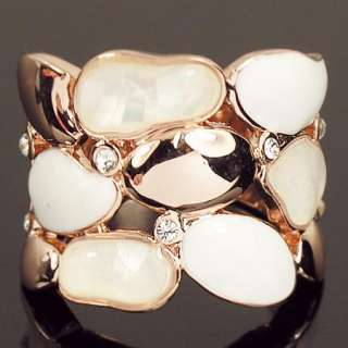 Swarovski Crystal shell white enamel cocktail finger Ring a1210