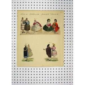 C1800 Costumes World Colour Print Men Women Romance