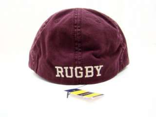 Nwt Rugby Ralph Lauren Burgundy Fitted R Leather Baseball Cap Hat