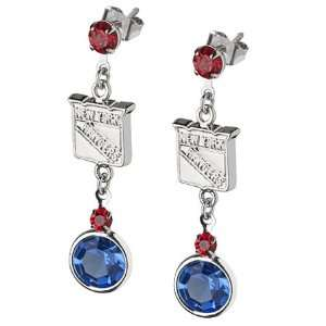 New York Rangers Earrings NHL Logo w/ Team Colors