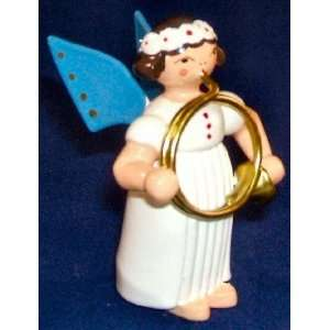 Angel Playing the French Horn Erzgebirge Wood Figurine