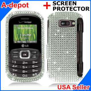 LG Octane VN530 Silver Crystal Bling Diamond Hard Case Cover +Screen