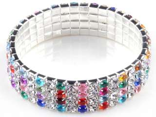Rows Crystal Rhinestone Wedding Party Stretchy Bangle Bracelet