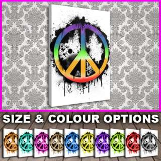 Contemporary Canvas   GRAFFITI ICON Peace Sign   COLOUR & SIZE OPTIONS