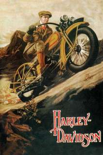 Harley Davidson   24x36 Canvas Motorcycle Poster on Canvas