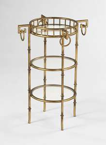 GOLD BAMBOO TABLE, 3 Glass Shelves, HOLLYWOOD REGENCY