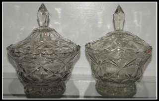 Pair of Antique 18C Georgian Glass Covered Bowls NR
