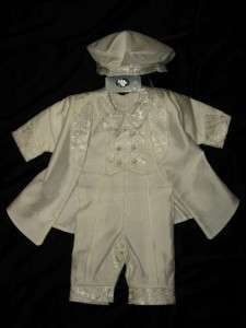 BABY BOYS 3PC Ivory Baptism Christening OUTFITS SUIT/OO/ Sz 3M,6M,12M