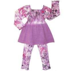 Ann Loren Girls Purple Tie dye 2 piece Set