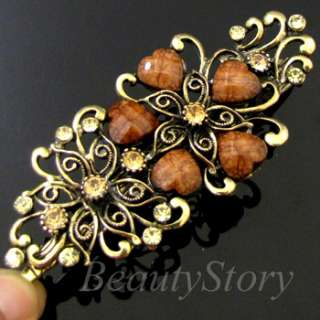 antiqued pc rhinestone flower hair clamp clip