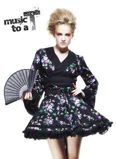 HELL BUNNY japanese SKY KIMONO TOP floral MINI DRESS BLACK SIZE 10 16