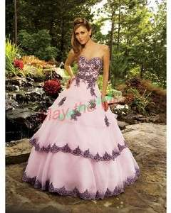 Hot sublimate Pink Wedding Dress Evening Bridal Gown Prom Ball Gown