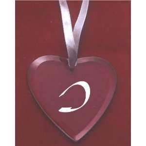 Glass Heart Ornament with the letter I