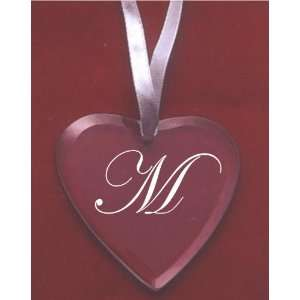 Glass Heart Ornament with the Letter M