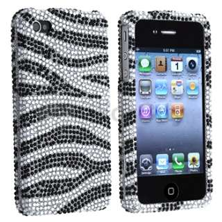 Sliver/Black Zebra Diamond Bling Case Cover+Screen Protector For