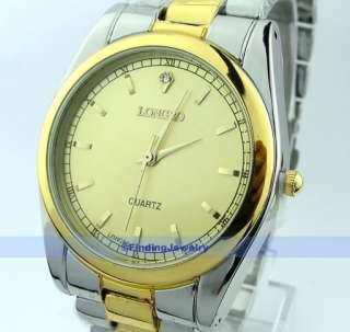 Men Crystal Gold Steel Fashion Quartz Wrist Watch