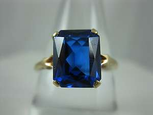 Step Cut Lab Sapphire 10k Yellow Gold Ladies Solitaire Ring