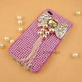 3D Bow Bling Crystal pearl Case cover for iPhone 4G #p1