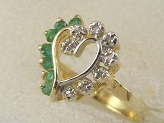 14 KT GOLD LADIES EMERALD & DIAMOND HEART SHAPE RING