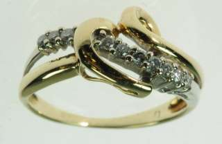 LADIES 10K YELLOW GOLD DIAMOND HEART BAND RING 197111