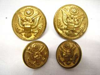 ANTIQUE MILITARY BRASS BUTTON SET EAGLE UNIFORM SHIELD
