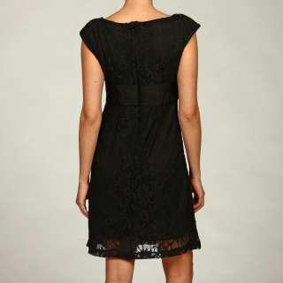 Clarie Womens Black Lace Empire Waist Dress