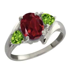 1.92 Ct Oval Red Rhodolite Garnet and Green Peridot