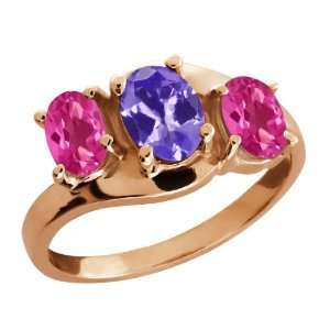 1.85 Ct Oval Blue Tanzanite and Pink Mystic Topaz 14k Rose