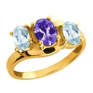 1.61 Ct Oval Blue Tanzanite and Sky Blue Aquamarine 14k