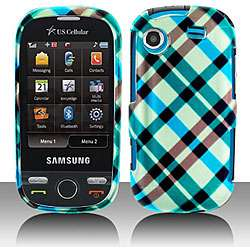 Blue Plaid Samsung Messager Touch Protector Case