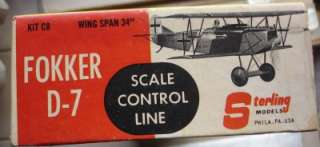 Vintage Sterling WW1 Fokker D 7 Gas Airplane Control Line Flying Scale
